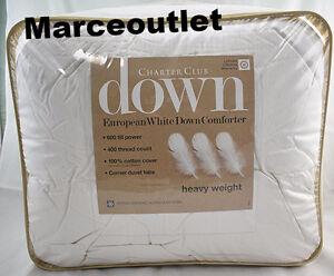 Charter Club European White Down Heavy Weight Comforter KING