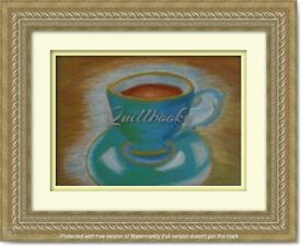 Original Hand Painted Oil Pastels Art Painting Turqoise Cup of Coffe v