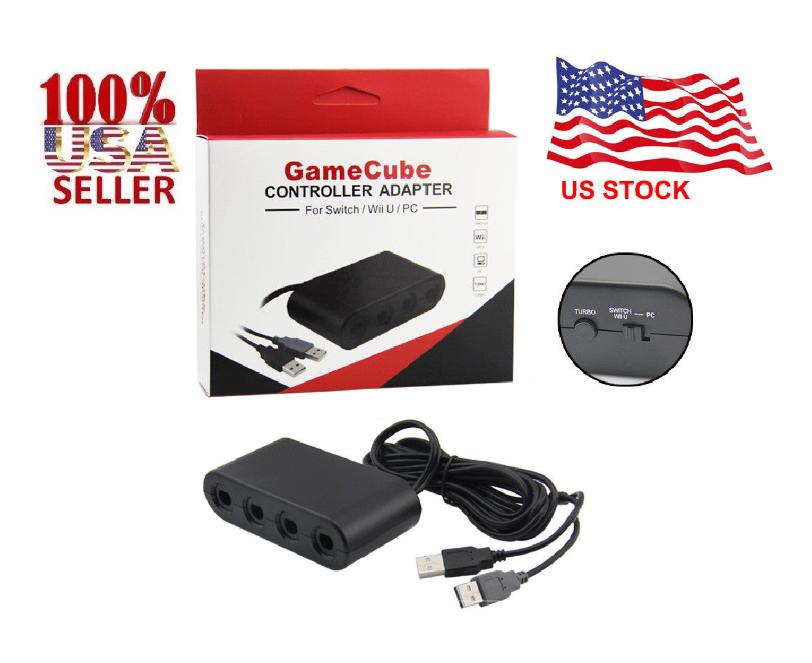 Купить Unbranded Nintendo Switch - GameCube Controller Adapter 4 port  for nintendo Switch Wii U & PC USB NEW TURBO