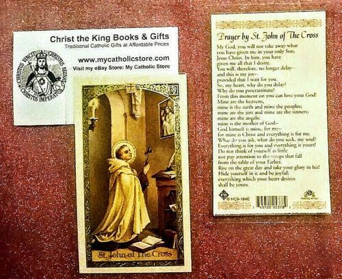 ST JOHN OF THE CROSS LAMINATED PRAYER CARD WITH PRAYER WRITTEN BY HIM
