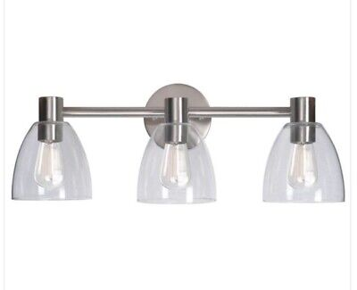 Kenroy Home 92093BS Edis 3-Light Brushed Steel Bath Vanity Light