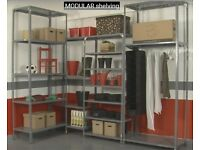 metal shelving and metal boxes - different sizes