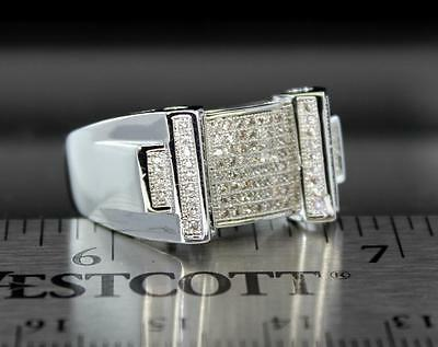 Mens Engagement Band 14k White Gold Plated Micro Pave Set Cz Ring  14k White Gold Cz Rings