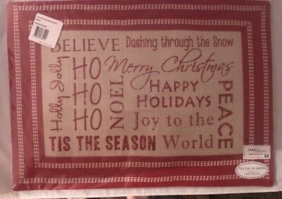 Placemats Tis the Season by Park Designs 19x14 Red Beige Christmas Set Of 3 New