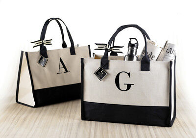 Mud Pie E8 Women's Natural & Black Initial Canvas Tote Bag - Choose Letter (Natural Canvas)