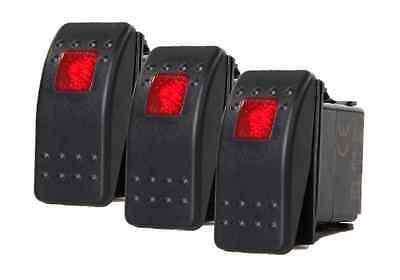 3 Pcs Marine Boat Trailer Rv Rocker Switch On-off Spst 3 Pin 1 Red Led Auto