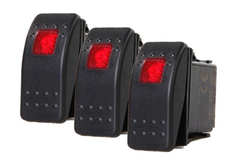 # 3 Pcs Marine Boat Trailer RV Rocker Switch ON-OFF SPST 3 Pin 1 Red LED Auto