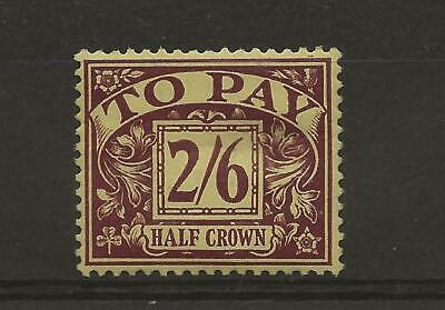 1936/7 KG ED V111 LIGHTLY MOUNTED POSTAGE DUE TOP VALUE 2/6d PURPLE & YELLOW D26