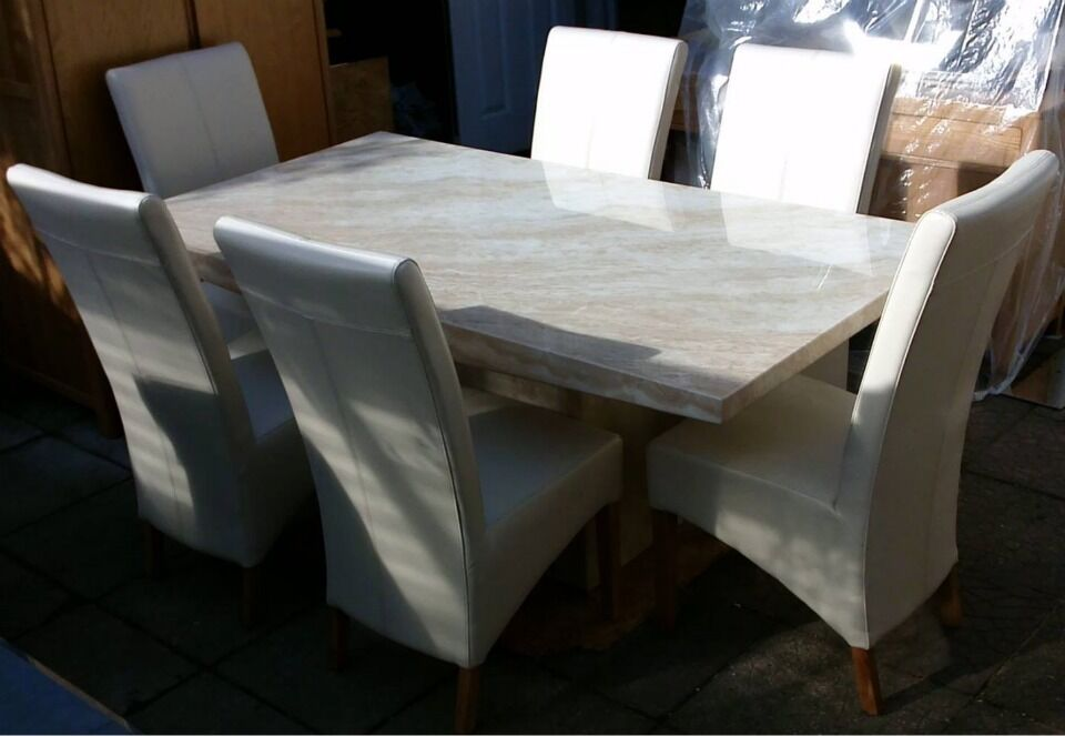 BEAUTIFUL CREMA MARBLE DINING TABLE amp 6 WHITE LEATHER  : 86 from www.gumtree.com size 960 x 663 jpeg 59kB