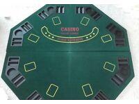 "1.2m / 48"" Folding Poker/Blackjack Table Top 8 Players -Casino Inc Chip Trays"