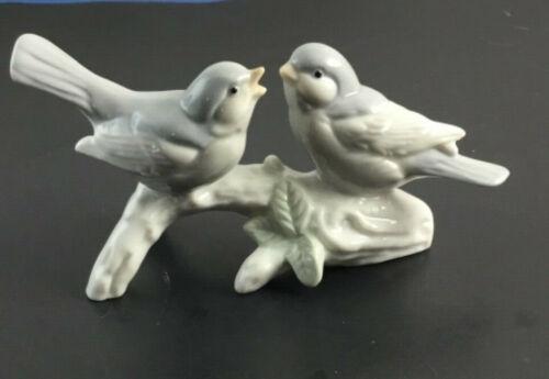 Otagiri Porcelain 2 Birds On Branch Figurine  Grey & White Japan