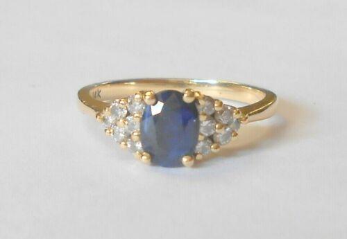 Gorgeous Estate Blue Sapphire & Diamond 14K Yellow Gold Ring Size 6.75