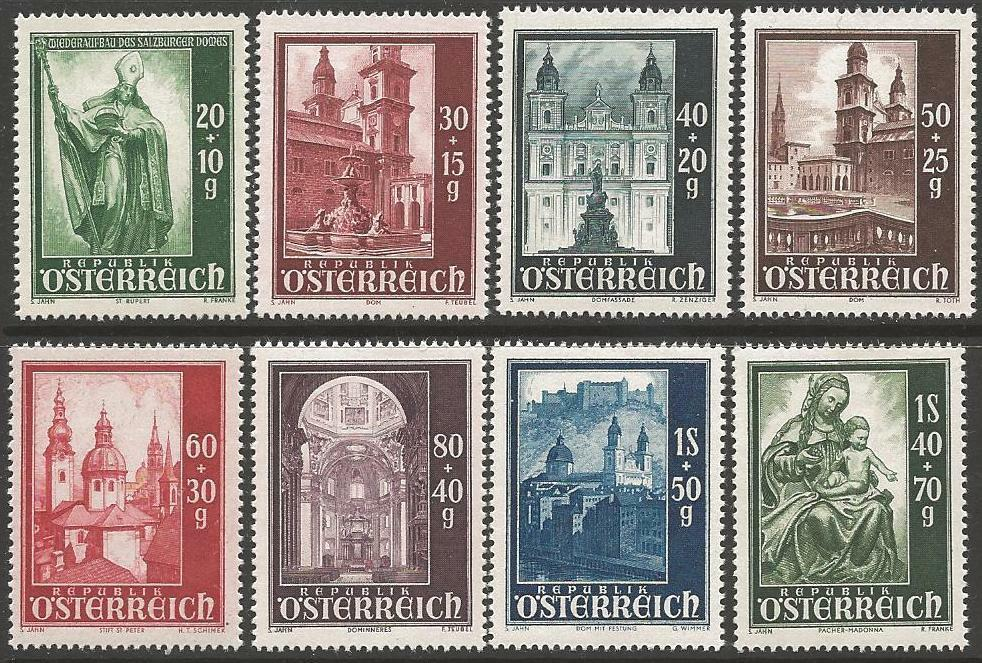 AUSTRIA SG1152/9 1948 SALZBURG CATHEDRAL RECONSTRUCTION FUND MNH