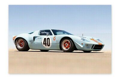 Vintage Car Decor (Vintage Car Poster Wall Art Ford GT40 Home Decor)