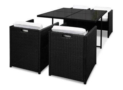 Athens Dining 5 Seater Set – Black & White
