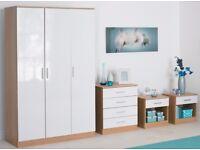 Brand New 4-Piece High-Gloss Bedroom Set White/Oak Wardrobe Drawer Chest 2 x Bedside Cabinet