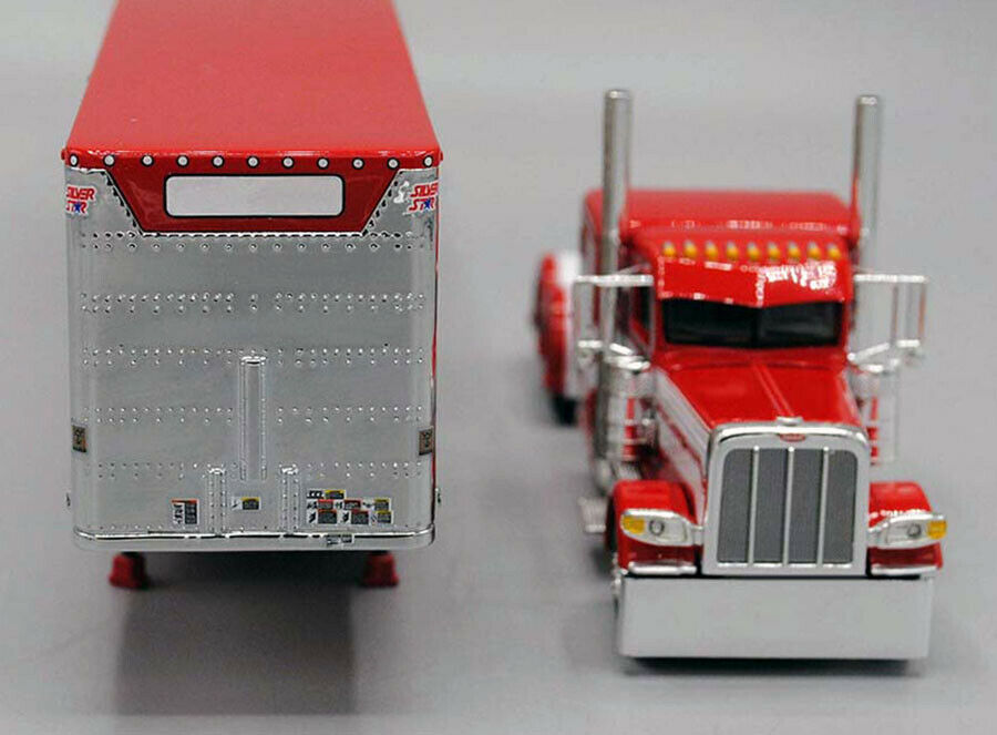 DCP 1/64 Red White 389 Peterbilt Tri-Axle Wilson Livestock Trailer 60-0521 2
