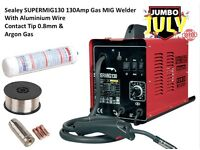 Sealey SUPERMIG130 130Amp Gas MIG Welder With Aluminium Wire Contact Tip 0.8mm & Argon Gas