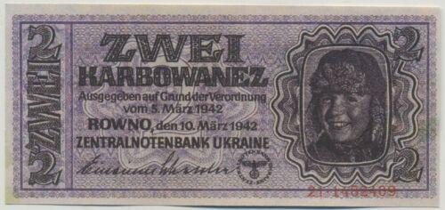 2 KARBOWANEZ 1942 ROWNO UKRAINE GERMAN OCUPATION UNC - REPRODUCTION