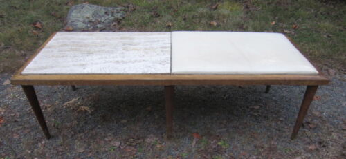 Elegant MID CENTURY MODERN Table Bench Travertine and Cushion