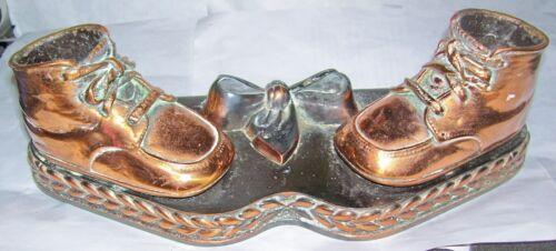 Nursury decor antique bronze copper metal baby shoes boots booties picture frame