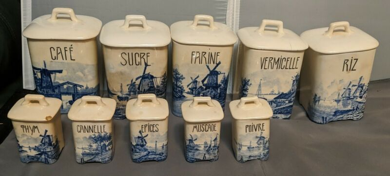 Antique Blue/White Delft 10 Piece Cannister Set Windmill Scene FRENCH Free Ship