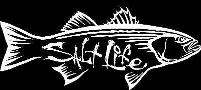 "SALT LIFE STRIPER HUNT & SIGNATURE ""WHITE"" UV rated vinyl medium DECAL*FREE SHIP"