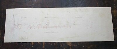 Ca 1890 Hand Drawn Survey, Cambridge RR Co, Dunster St Harvard Sq, Cambridge, MA