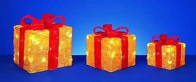 Premier 3 Piece Red bow glitter gold parcels, Christmas decorations, LED lights.