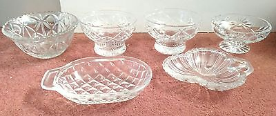 x6 Small Cut Glass Bowls Trinkets Nuts Sweets