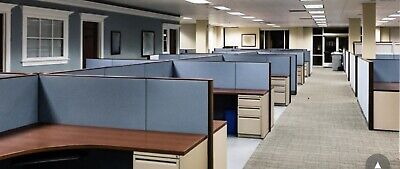 10 Office Cubicles Set With Panels Partitions Desks Cabinets Wires