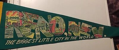 Reno Nevada The Biggest Little City In The World Travel Souvenir Pennant Vintage