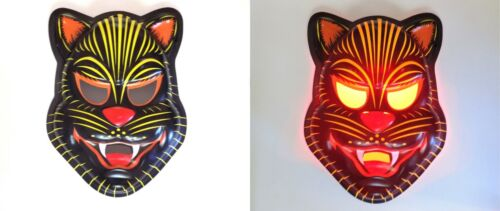 Vintage Style Halloween Scary Black Cat Lighted Wall Mask Decoration
