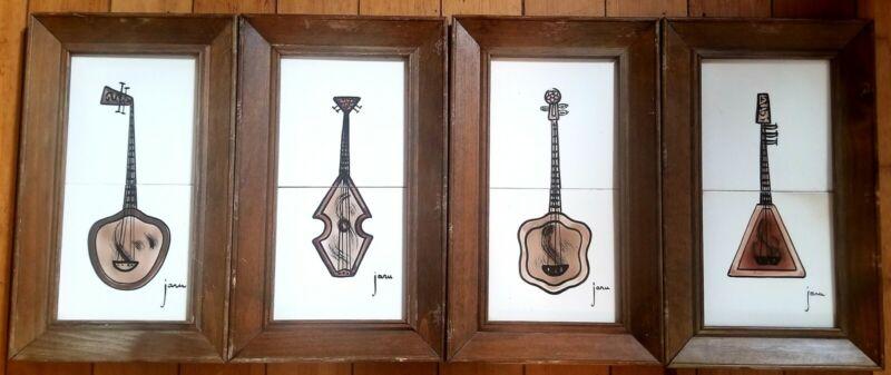 4 California Mid Century Decorative Guitar by artist Jaru Framed Tile Art