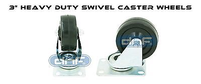 3 Swivel Caster Wheels Rubber Plate Bearing Heavy Duty 360 Degree Movement