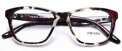 PRADA Journal VPR 04T U6K-1O1 Eyeglasses Frames 52-16-140 Spotted Brown/Red >NEW
