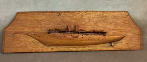 Half Hull Model Steam Yacht - RG Doucette Malden MASS Hand Carved Wood