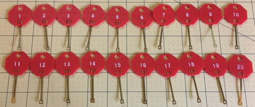 Snap-Hook Plastic Key Tags for Hook, Nail MMF Red Orange Numbered 1-40 (40pcs)