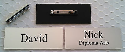 Employee Name Tags Custom Engraved Smooth Silver W Pin Attachment 1.25 X 3.25