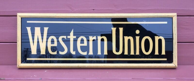 Vintage Western Union Glass Oak Framed Sign ~ Old Mustard Paint ~