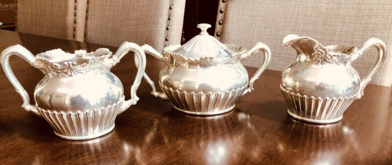 Antique Reed & Barton Silver Plate  Sugar/Creamer and Waste Bowl W/lid 3490