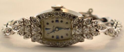 LADIES 14K WHITE GOLD DIAMOND ART DECO HAMILTON WATCH