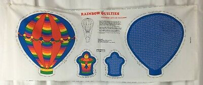 Vtg Rainbow Quilties Hot Air Balloon Fabric Panel DIY Stuffed Mobile Toy FCI New - Diy Hot Air Balloon