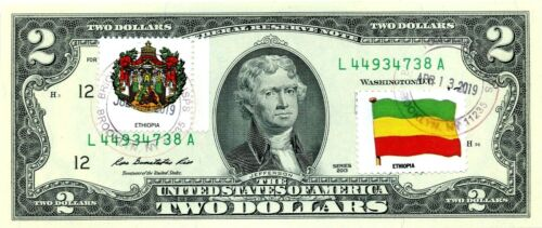 $2 DOLLARS 2013 FLAG & COATS OF ARMS ETHIOPIA LUCKY MONEY VALUE $125
