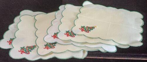 6 Vintage Embroidered CHRISTMAS Tree COCKTAIL NAPKINS VV83