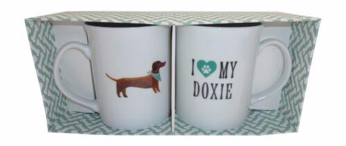 "Set of 2 Porcelain Mugs with Fun Dachshund Design ""I Heart MY Doxy"" by Fringe"