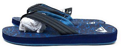 Quiksilver Mens Classic Carver Print Flip Flop Slide Sandals Black Blue Size 9