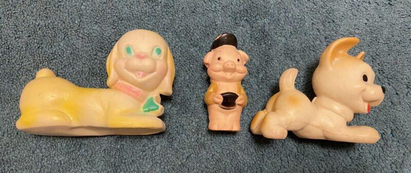 Vintage Lot 3 Rubber SqueakySqueak Toy Puppy Dog Three Little Pig Reliance 1971