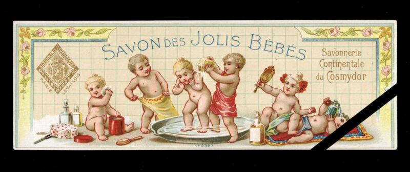 Vintage French Soap Perfume Label: Original c. 1900 Savon Jolis Bebes - Cosmydor