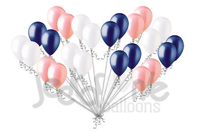 Baby Girl Balloons (24 pc Coral White & Navy Blue Latex Balloons Party Decoration Birthday Baby)